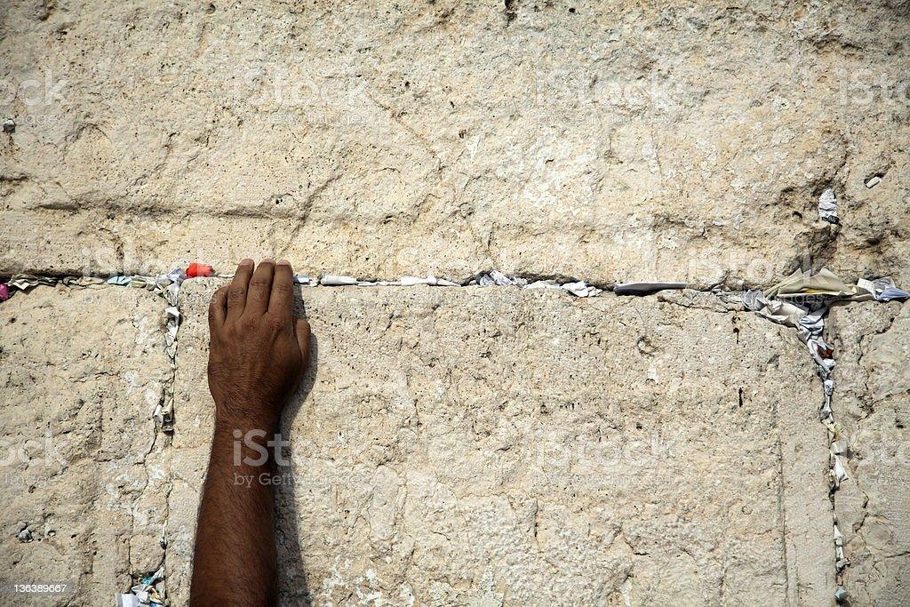Making a Wish at the Wailing Wall royalty-free stock photo