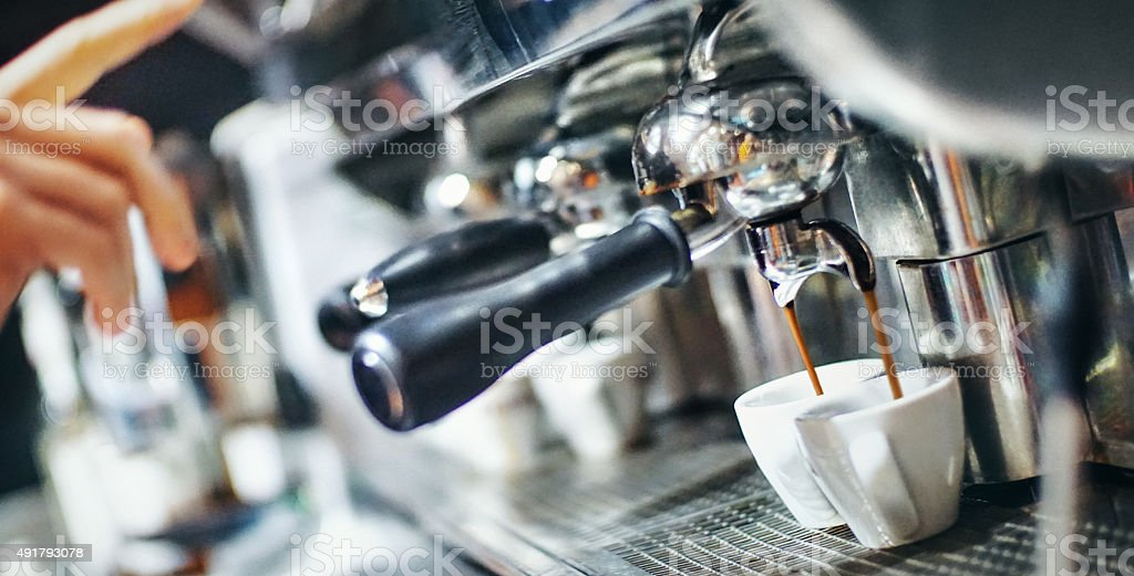 Making an espresso. stock photo