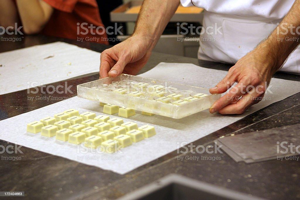 Making artisanal Belgian Chocolates royalty-free stock photo