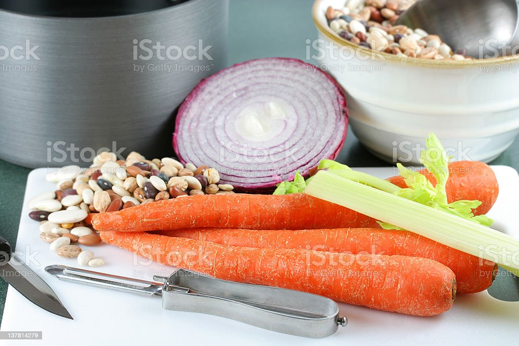 Making Bean Soup royalty-free stock photo