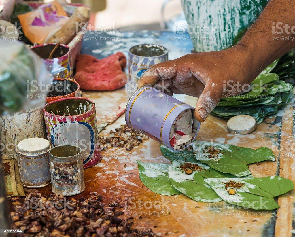 Making Betel Nut Chews in Myanmar stock photo