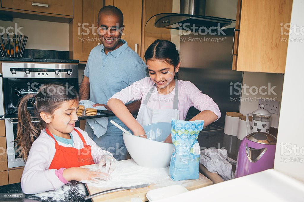 Making Biscuits with Dad stock photo