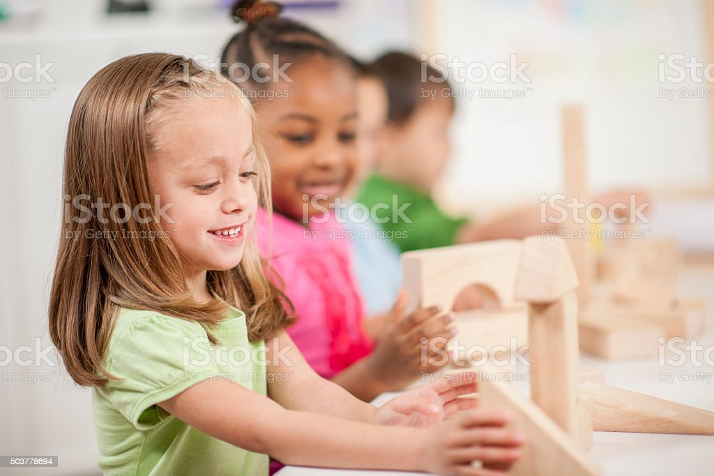 Making Block Towers in Class stock photo