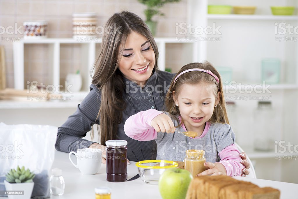 Making breakfast in the morning stock photo