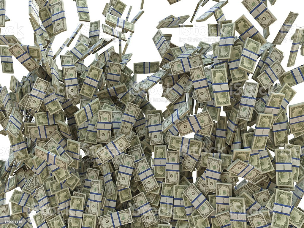 Making business: bunches of US dollars isolated royalty-free stock photo