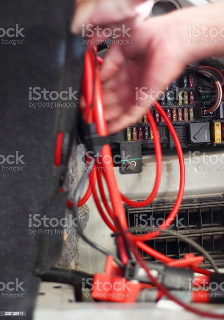 Making cable stock photo
