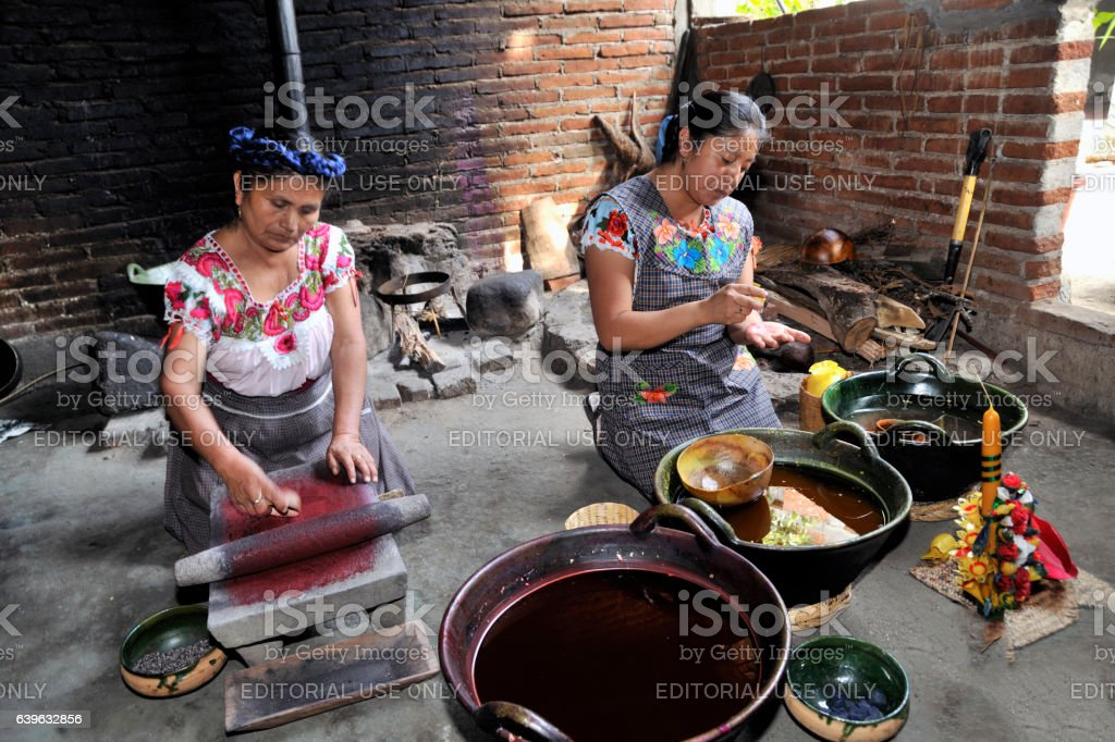 Making Candles in Teotitlán stock photo