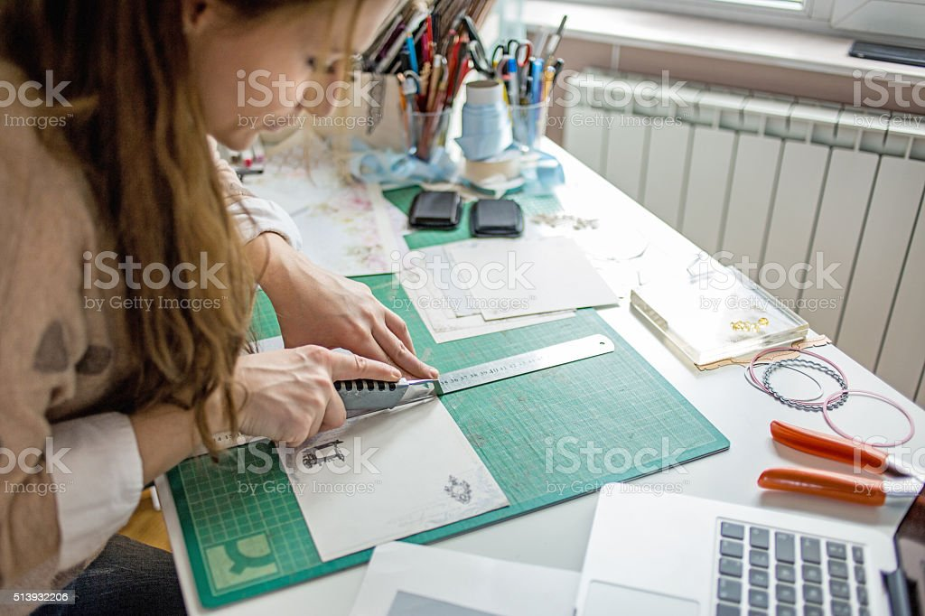 Making cards stock photo