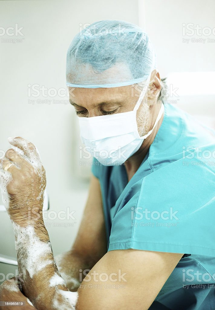 Making certain theres no germs left! royalty-free stock photo