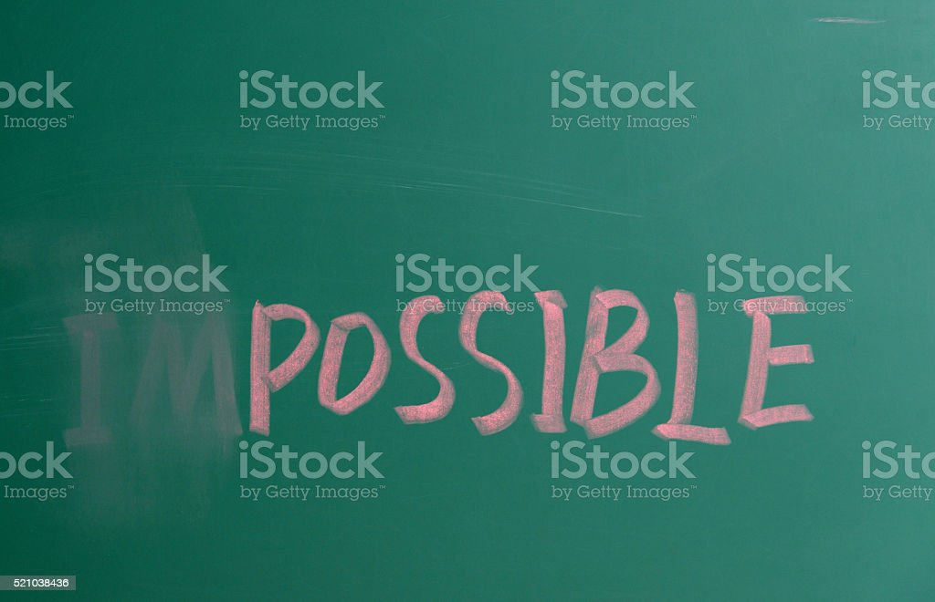 Making chang of impossible concept stock photo
