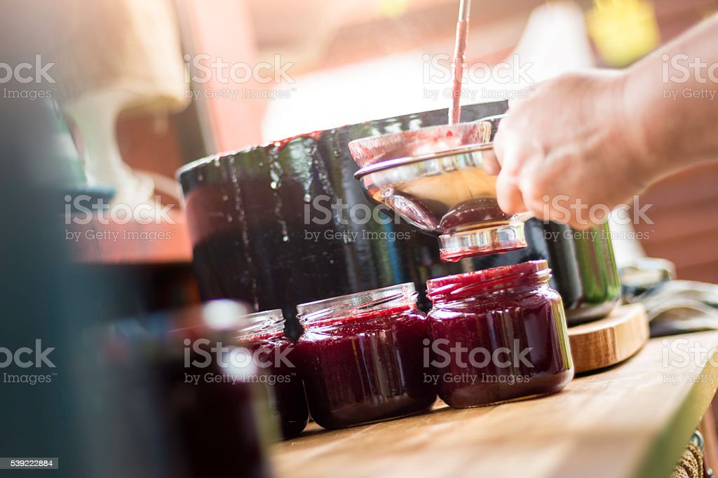 Making Cherry Jam stock photo