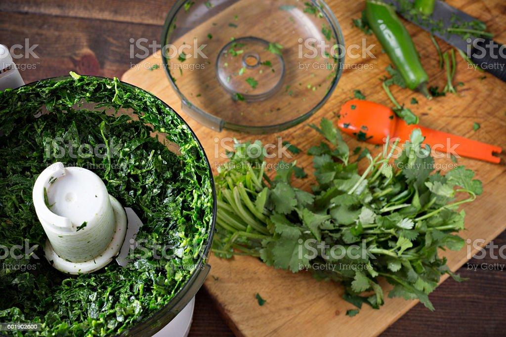 Making Chimi-churri stock photo