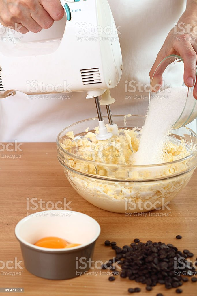 Making Chocolate Chip Cookies. Series. stock photo