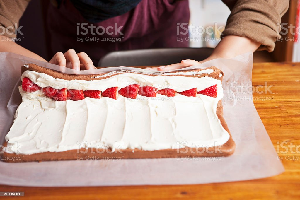 Making buche de noel stock photo