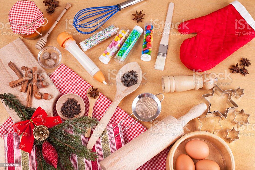 Making Christmas Cookies stock photo