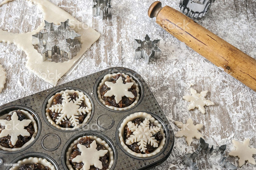 Making Christmas mince pies stock photo