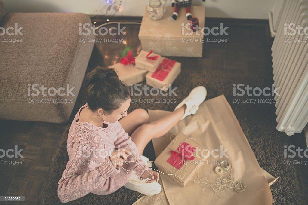 Making Christmas presents stock photo