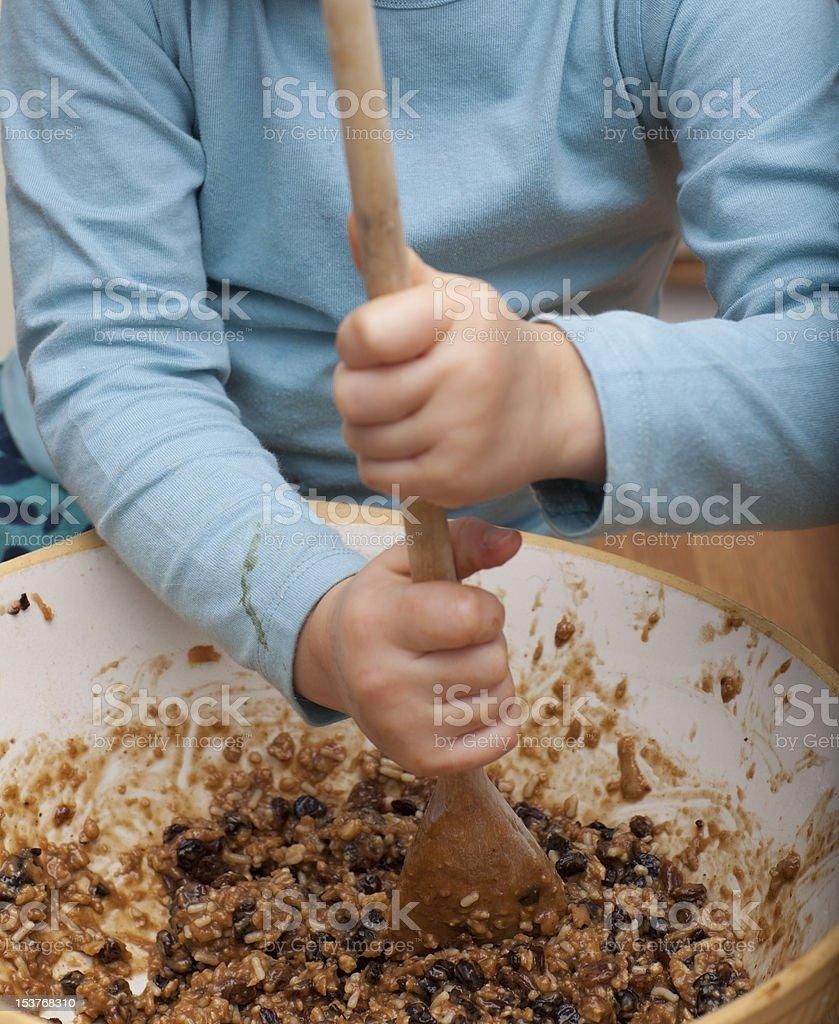 Making Christmas pudding royalty-free stock photo