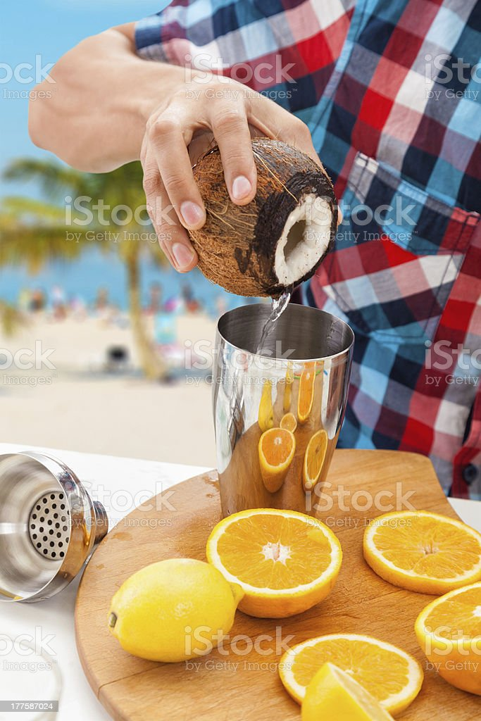 Making cocktail royalty-free stock photo