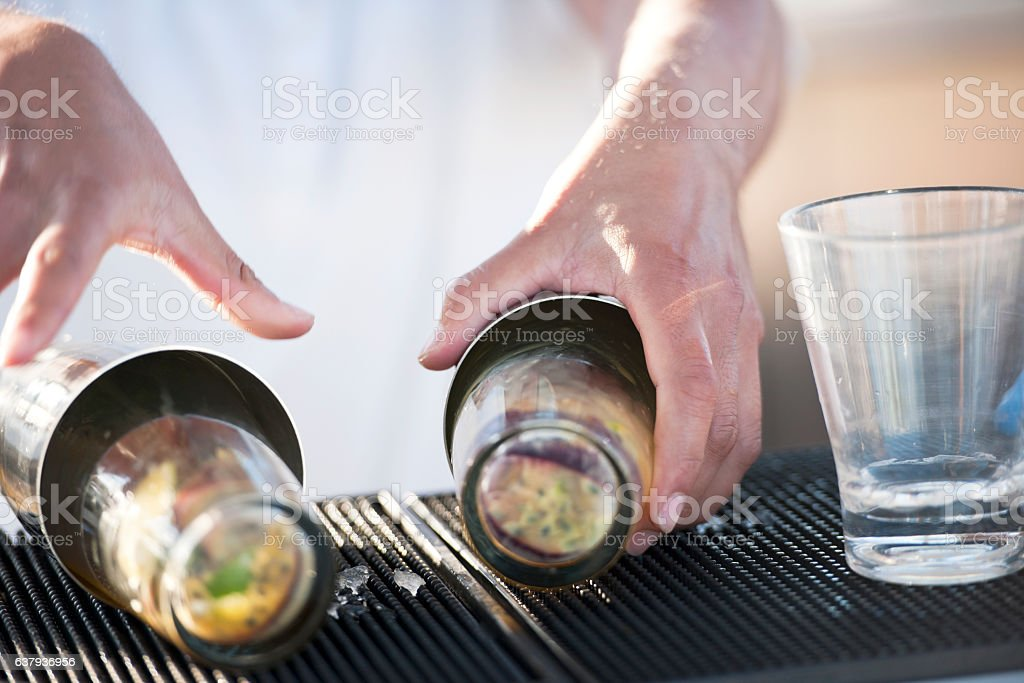 Making cocktails stock photo