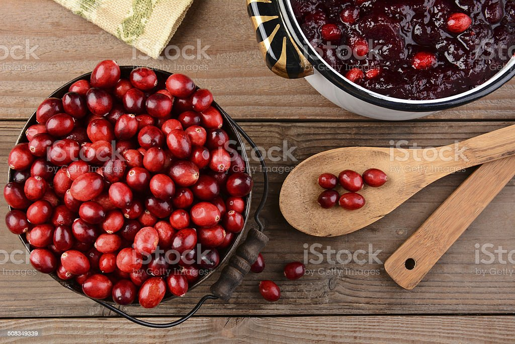 Making Cranberry Sauce for Thanksgiving stock photo