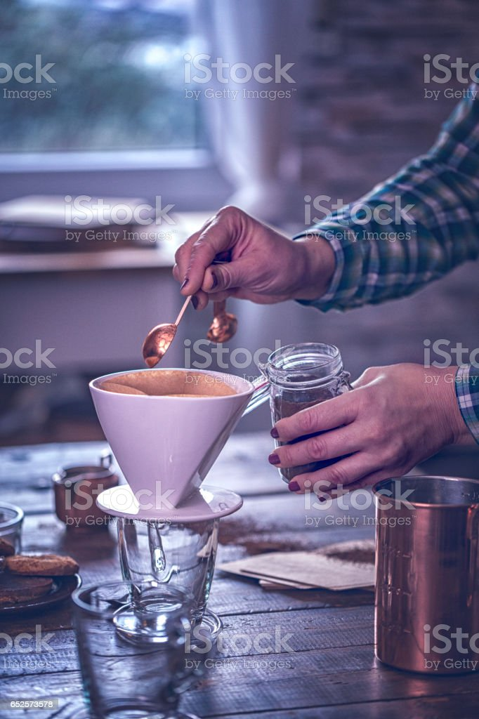 Making Cup of Coffee stock photo