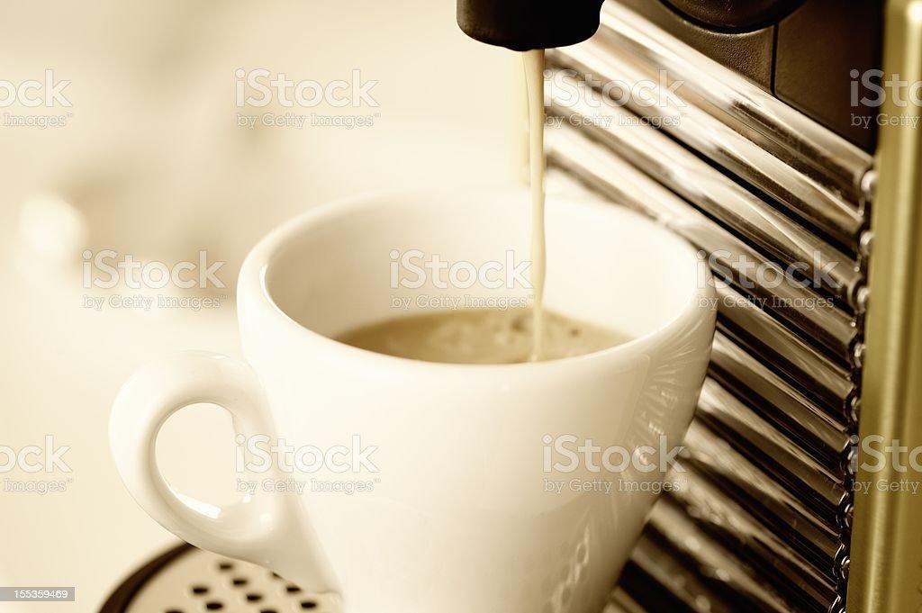 Making Espresso Coffee stock photo