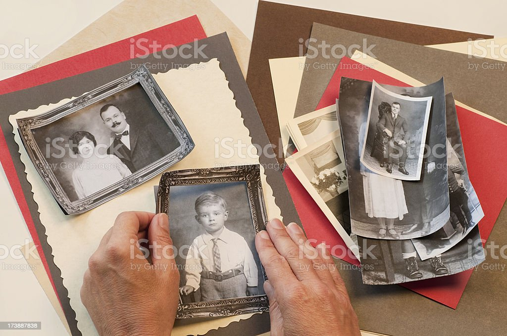 Making Family History Scrapbook Page stock photo