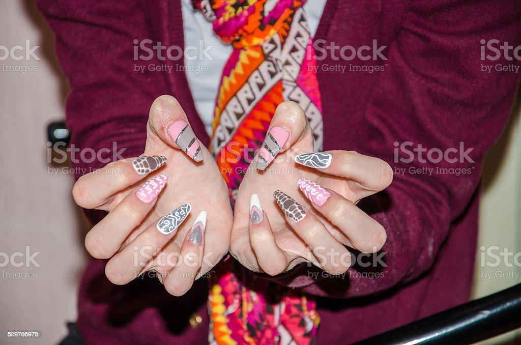 Making fingernails stock photo