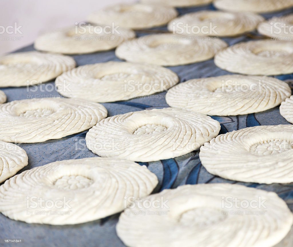 making flat bread royalty-free stock photo