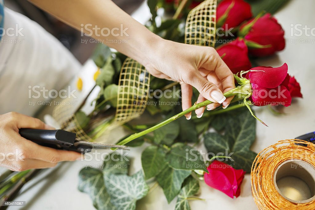 Making flower bouquet. royalty-free stock photo