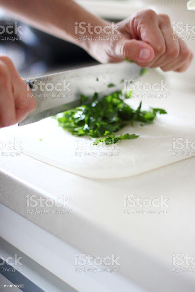 Making food at kitchen stock photo