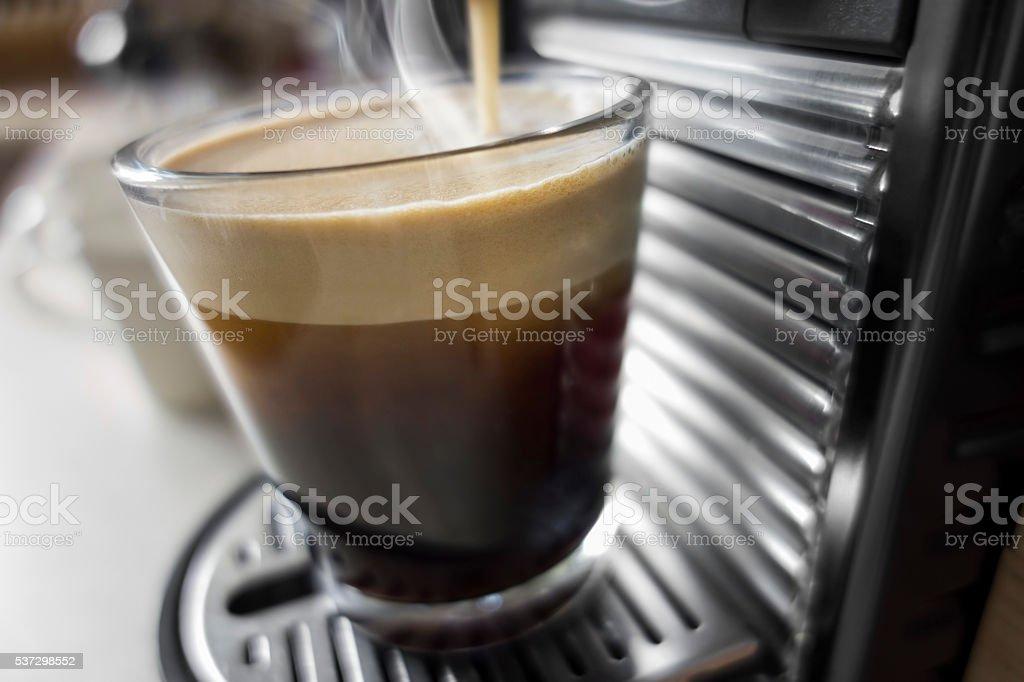 Making fresh espresso stock photo