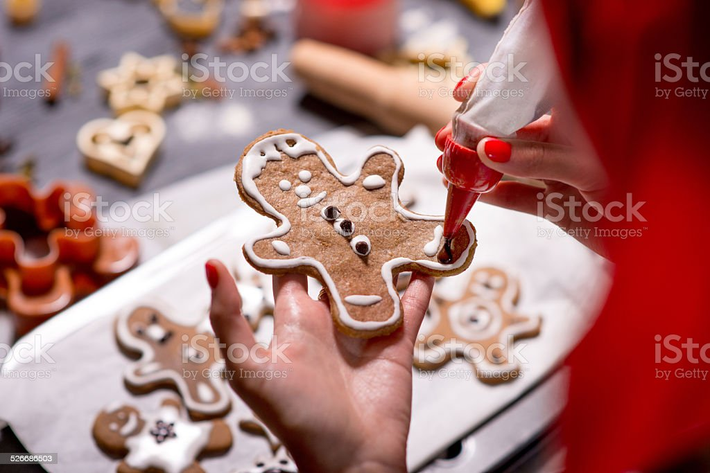 Making ginger cookies on Christmas stock photo