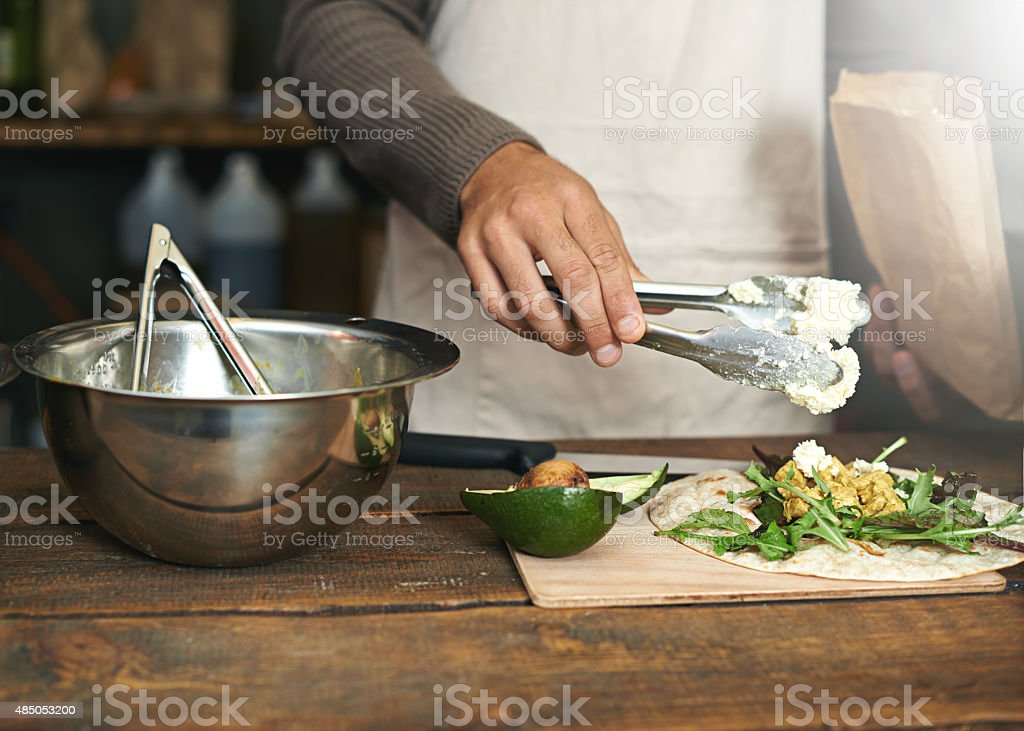 Making good food from fresh ingredients stock photo