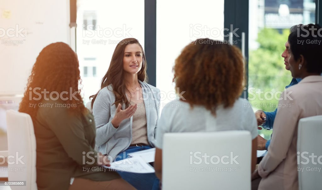 Making great contributions to their collaborative venture stock photo