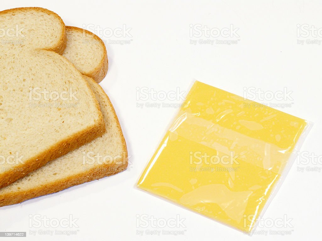 making grilled cheese stock photo