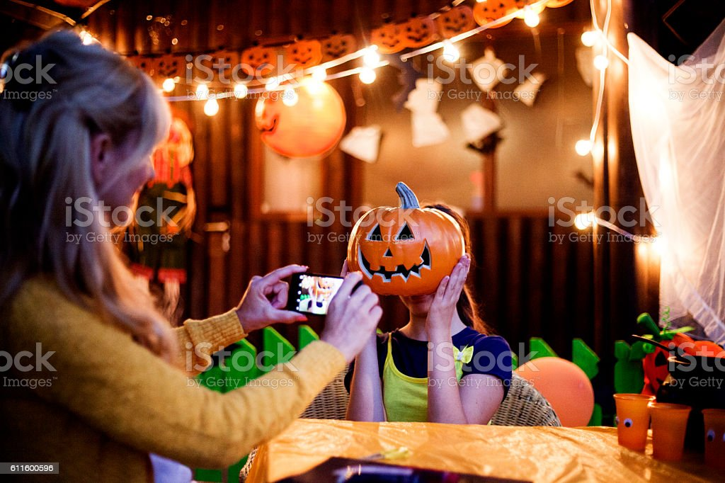 Making Halloween memories stock photo