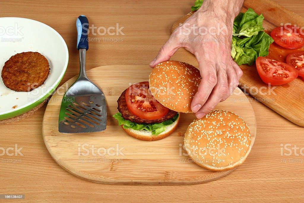 Making Hamburger. Series. royalty-free stock photo