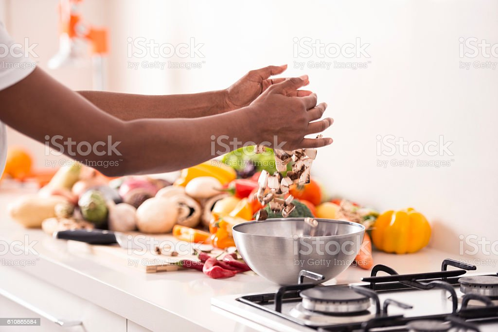 Making healthy salad. stock photo
