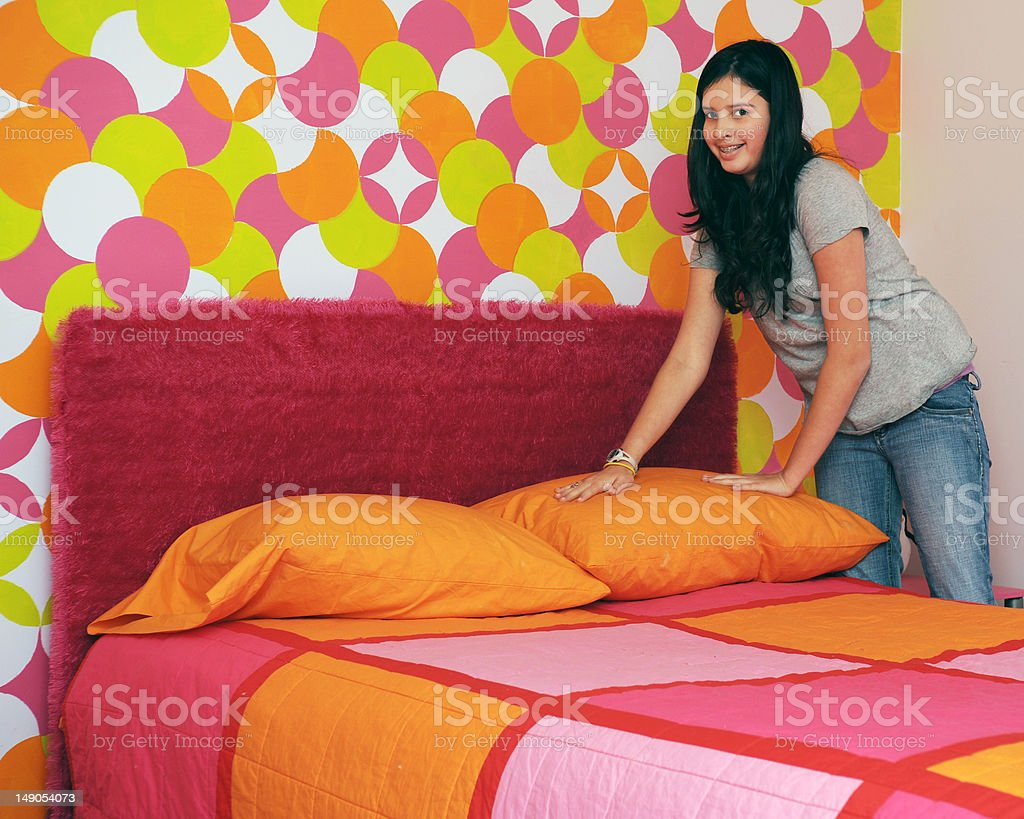 Making Her Bed stock photo