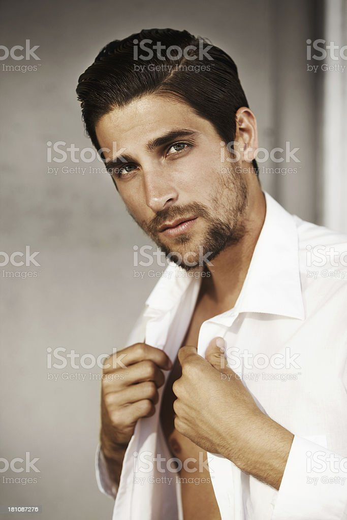 Making his clothes work for him stock photo
