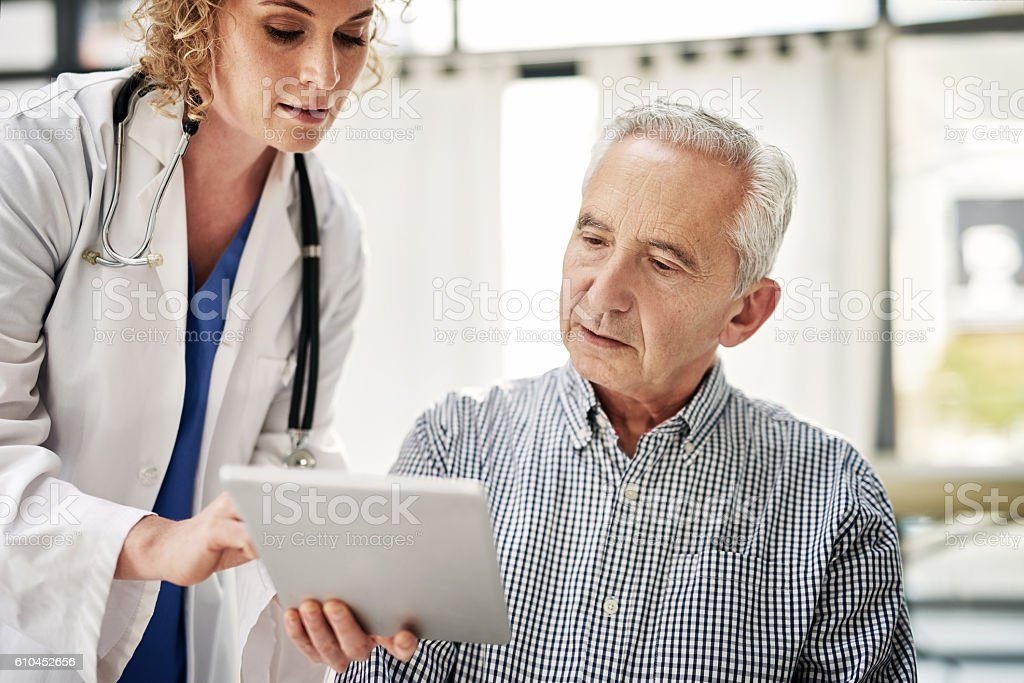 Making his treatment easy to understand stock photo