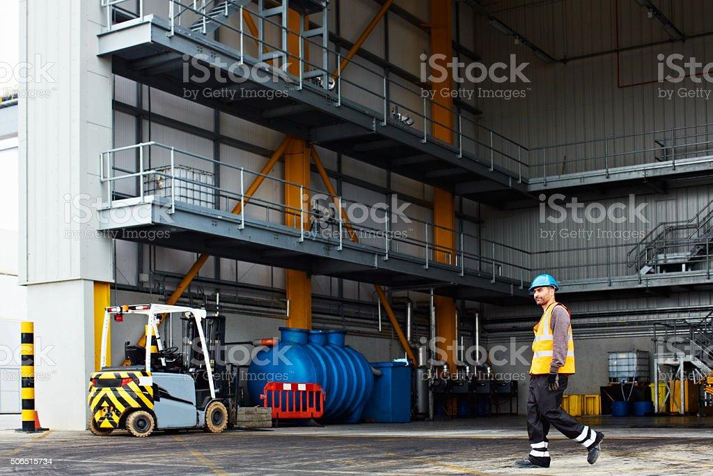 Making his way along the docks stock photo