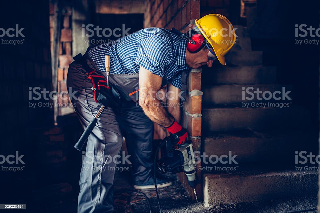 Making holes stock photo