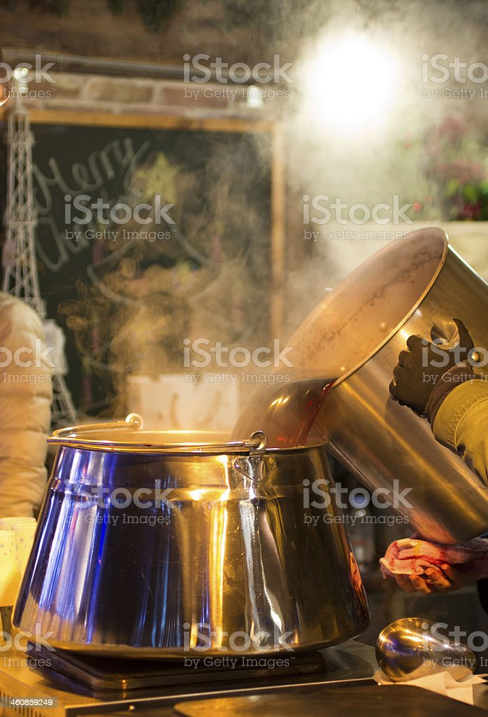 Making Hot Mulled Wine royalty-free stock photo