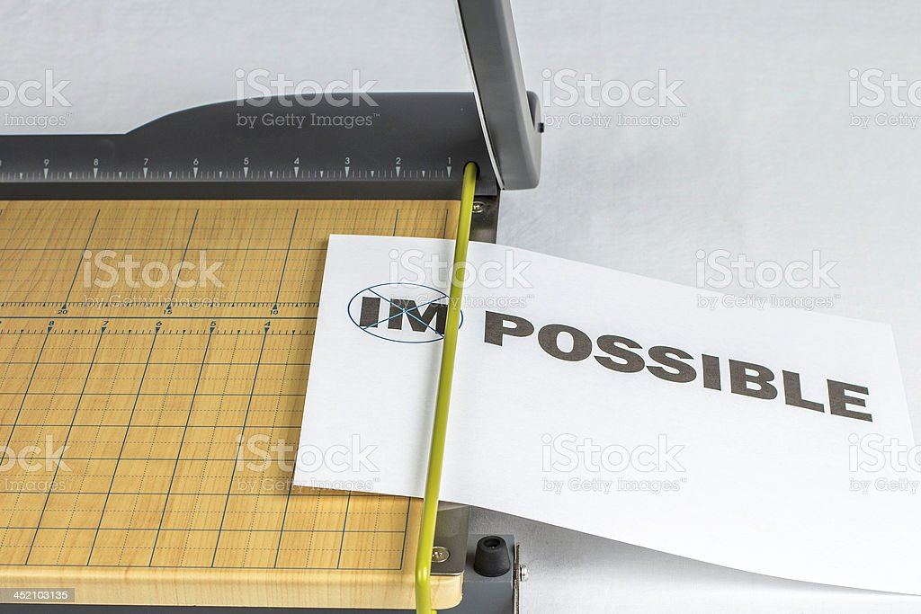 Making Impossible Possible Paper Cutter stock photo