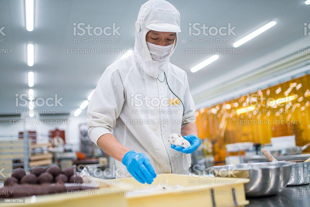 Making Japanese Mochi stock photo