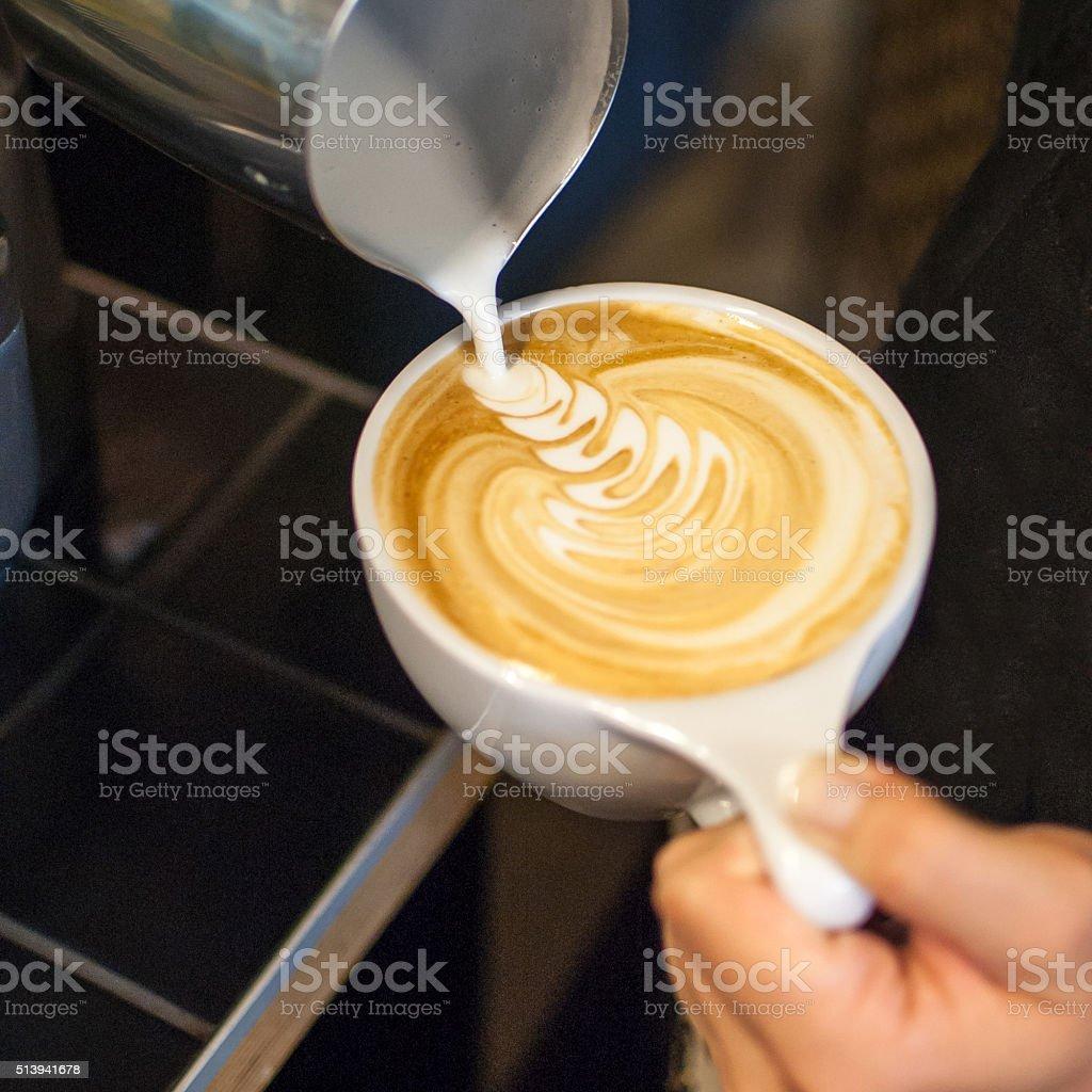 Making latte art stock photo