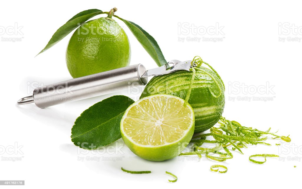 Making lime zest stock photo